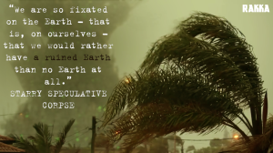 Screencap from Rakka / quote from Starry Speculative Corpse